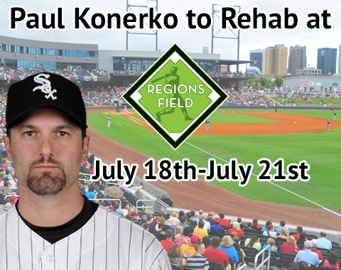 Paul Konerko will make his first appearance with the Barons as he rehabs from a lower back strain.