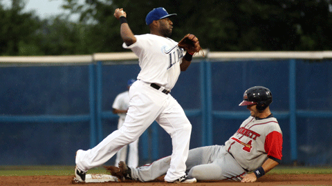 Zelous Wheeler attempts to complete a double play Monday night.