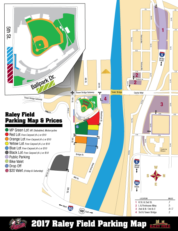 Directions Parking Sacramento River Cats Raley Field Info - Parking map us bank stadium