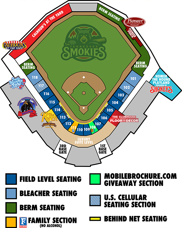 Stadium Seating Chart Tennessee Smokies Smokies Stadium - Us cellular field seating map