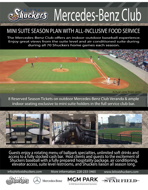 Mercedes benz mini suite biloxi shuckers tickets for Mercedes benz tickets