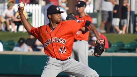 Jorge Alcala struck out seven Myrtle Beach batters, including the first four he faced.