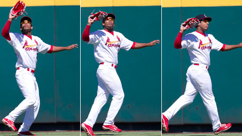 Oscar Taveras had six assists and five errors in 124 games last year.