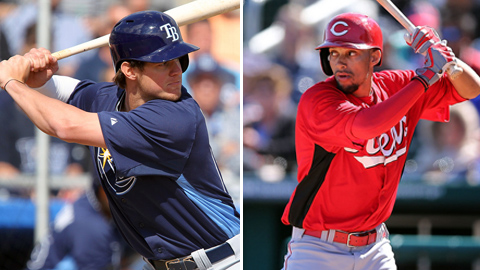 Wil Myers (left) and Billy Hamilton lead an impressive set of International League outfielders.