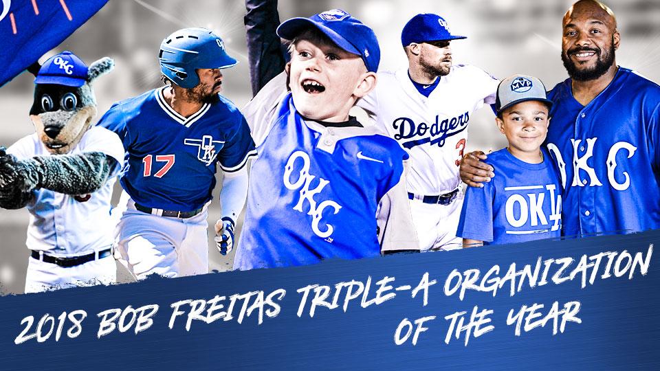 OKC Dodgers Named 2018 Triple-A Winner of Bob Freitas Award