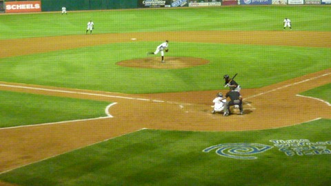 Tyler Wagner strikes out Rock Shoulders looking to end the fifth inning on Monday at Time Warner Cable Field at Fox Cities Stadium.