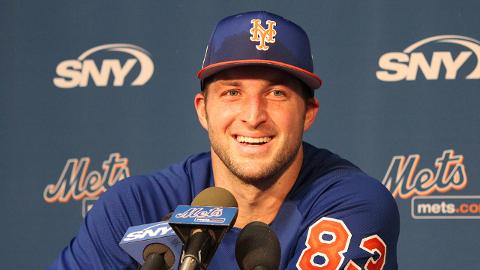 Tim Tebow collected a .656 OPS across two levels in his pro debut last season.