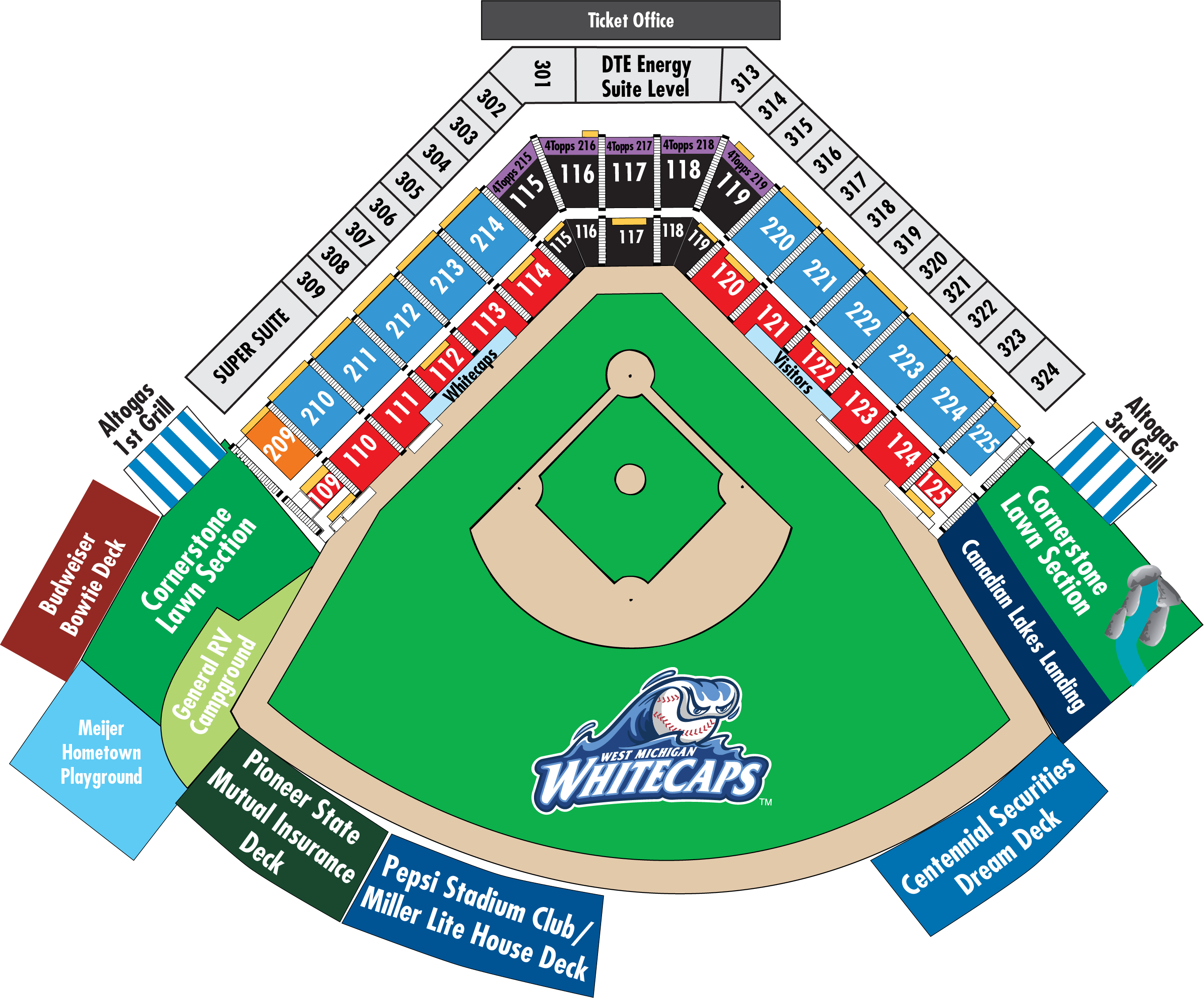 Seating Chart West Michigan Whitecaps Ballpark