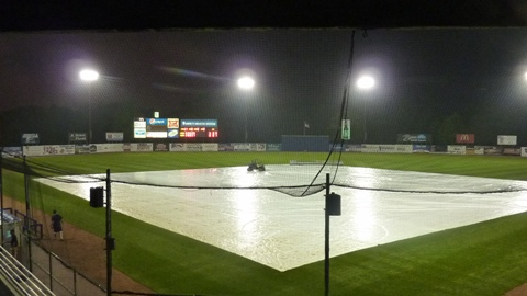 The tarp went on the field after the Snappers took the lead in the bottom of the fifth inning, The game was not resumed and Beloit beat the Rattlers 6-5.