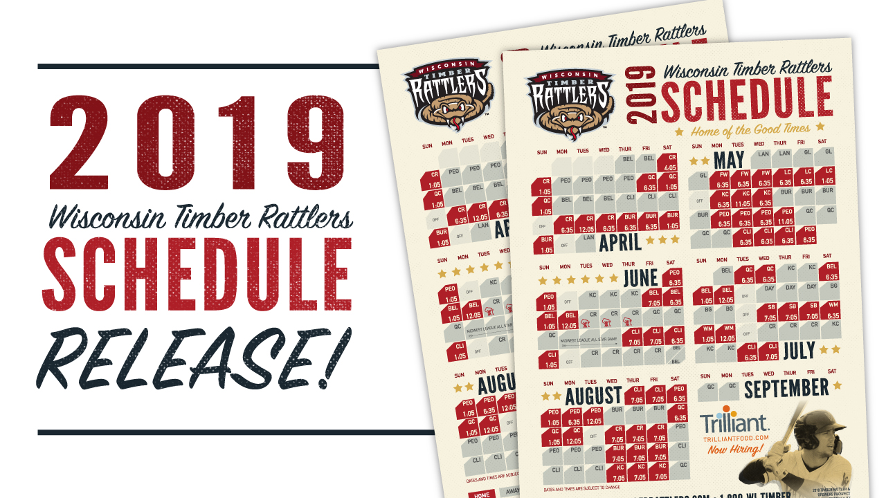 picture about Brewers Printable Schedule identify Timber Rattlers Announce 2019 Timetable Wisconsin Timber