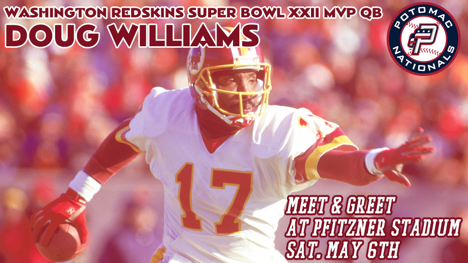 1635dee2 The former Washington Redskins Super Bowl XXII MVP Quarterback will be on  hand at The Pfitz for a free meet-and-greet autograph signing with P-Nats  fans