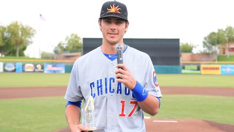 Kris Bryant accepted the Joe Black Award before the AFL title game.