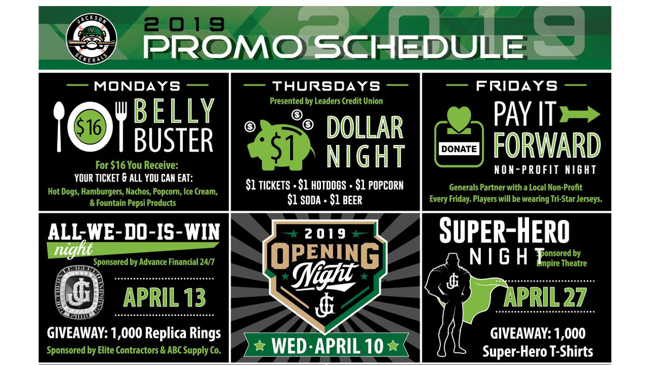 photograph relating to Diamondbacks Schedule Printable known as Generals launch 2019 discounts routine Jackson Generals