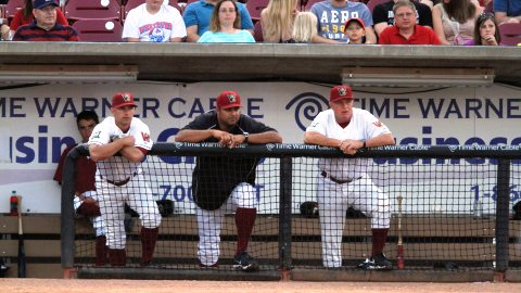 Left to Right: Manager Matt Erickson, Pitching Coach David Chavarria, and Hitting Coach Dusty Rhodes.