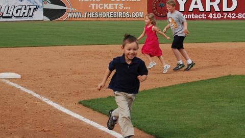 Junior Shorebirds Kids Club members get to run the bases every Sunday
