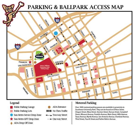 Parking Map El Paso Chihuahuas Content
