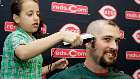 Bill Bray gets buzzed during a Reds St. Baldrick's event.