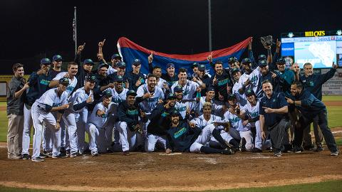The Hillcats celebrate their eighth Carolina League title and first as an Indians affiliate.
