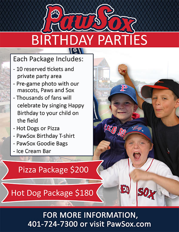 2018 PawSox Birthday Parties