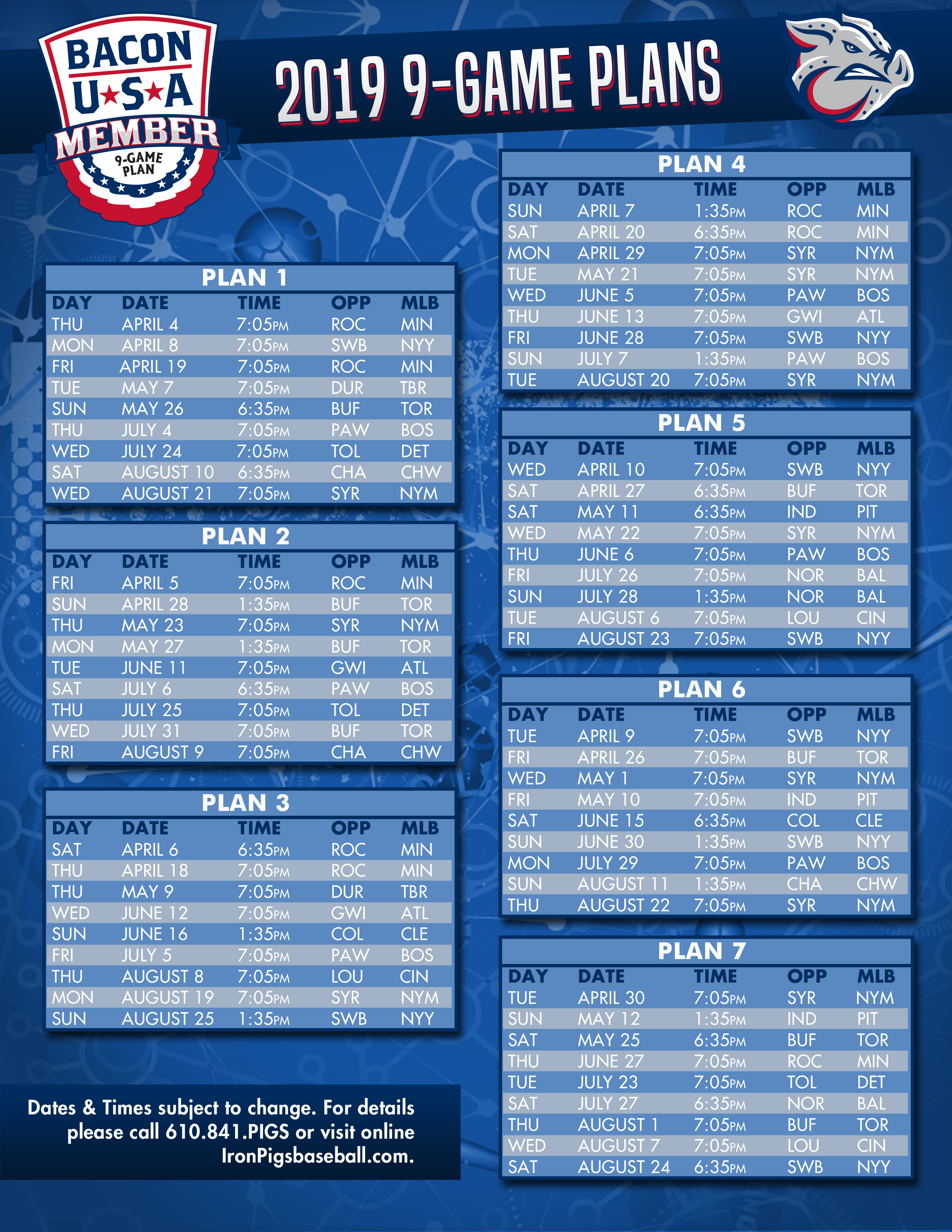 Ironpigs Schedule 2019 Nine game Bacon, USA, Memberships available online | Lehigh Valley