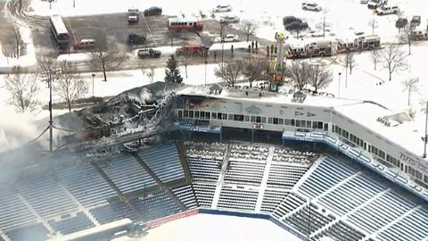 Fire damage to Fifth Third Ballpark stretched across the first base side of the stadium.