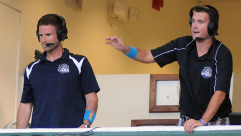 Dave Walkovic (right) & Robbie Aaron attempting to reach their goal of catching one foul ball from the broadcast booth during the 2012 season.