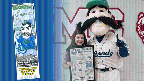 Aubree McIntosh accepts the framed poster of her winning bookmark design from the Lexington Legends' Big L.