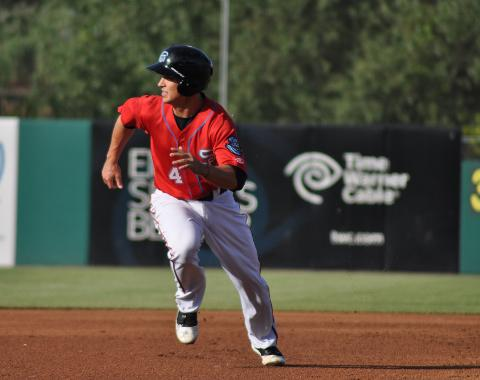 Zach Walters homered twice and extended his hit streak to 12 games on Saturday.