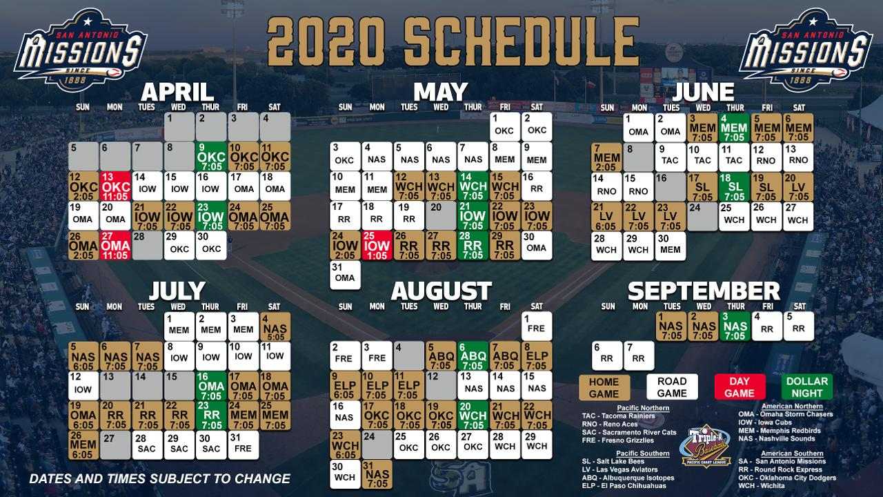 San Antonio Missions Announce 2020 Schedule Missions